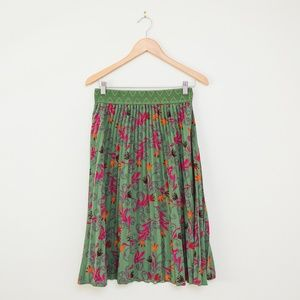 LLR Jill Pleated Midi Skirt in Green, Orange, Pink